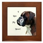 I Love My Boxer Framed Tile