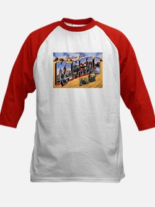 Kansas Greetings (Front) Kids Baseball Jersey