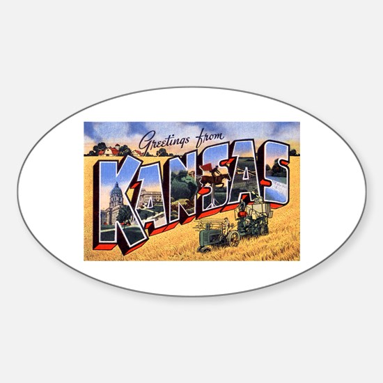 Kansas Greetings Oval Decal