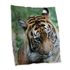 Tiger 002 Burlap Throw Pillow
