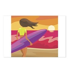SURFER GIRL [brunette] Postcards (Package of 8)