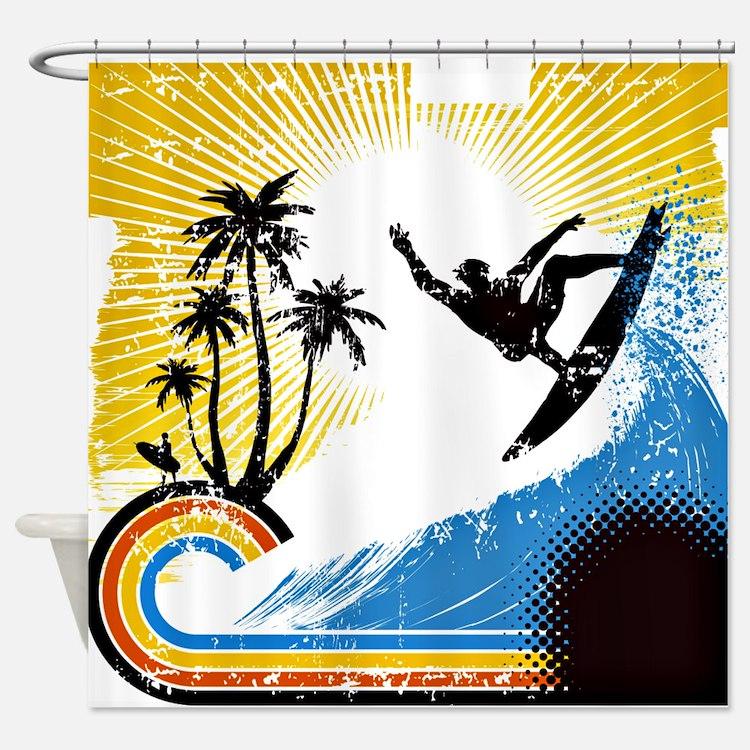 Vintage Surfin Shower Curtain