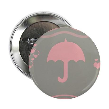 "Pink Umbrella Grey 2.25"" Button"