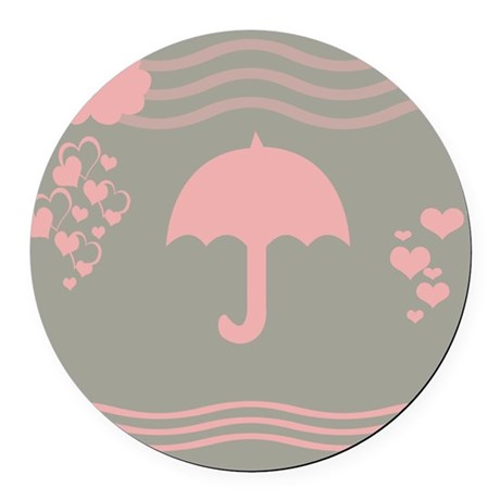 Pink Umbrella Grey Round Car Magnet