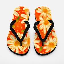 Orange Daisies Flip Flops