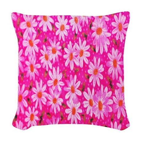 hot pink daisies woven throw pillow by alittlebitofthis1. Black Bedroom Furniture Sets. Home Design Ideas