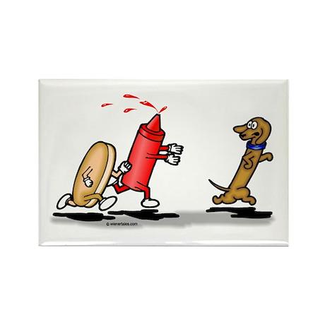 Run Wiener Dog Rectangle Magnet