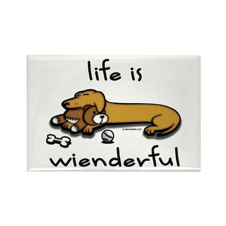 Life Is Wienderful Wiener Dog Rectangle Magnet