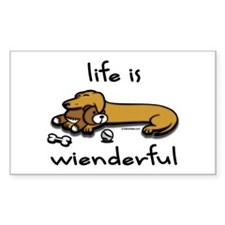 Life Is Wienderful Wiener Dog Sticker Rectangular