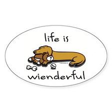 Life Is Wienderful Wiener Dog Oval Decal