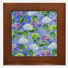 Hydrangeas Floral Blue Framed Tile