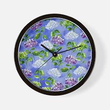 Hydrangeas Floral Blue Wall Clock