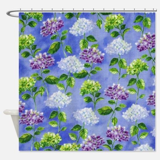 Hydrangeas Floral Blue Shower Curtain