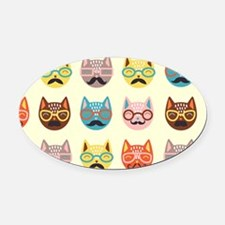 Hipster Cats Oval Car Magnet