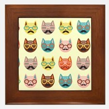 Hipster Cats Framed Tile