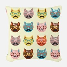 Hipster Cats Woven Throw Pillow