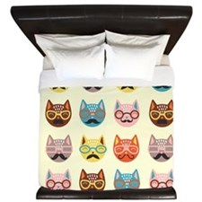 Hipster Cats King Duvet