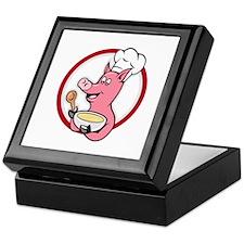 Pig Chef Cook Holding Bowl Cartoon Keepsake Box