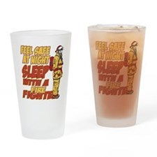 Feel Safe at Night Firefighter Drinking Glass