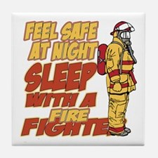 Feel Safe at Night Firefighter Tile Coaster