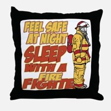 Feel Safe at Night Firefighter Throw Pillow
