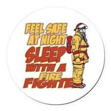 Feel Safe at Night Firefighter Round Car Magnet