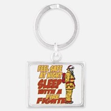Feel Safe at Night Firefighter Landscape Keychain