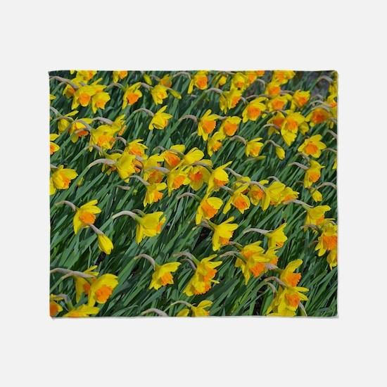 Bright yellow daffodils garden Throw Blanket