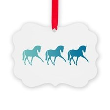 Dressage Horse Sidepass Blue Ombr Ornament