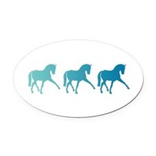 Dressage Horse Sidepass Blue Ombre Oval Car Magnet