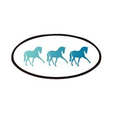 Dressage Horse Sidepass Blue Ombre Patches