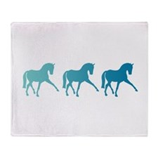 Dressage Horse Sidepass Blue Ombre Throw Blanket