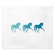 Dressage Horse Sidepass Blue Ombre King Duvet