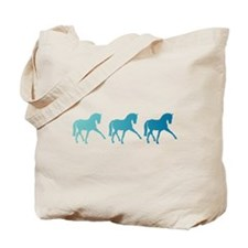 Dressage Horse Sidepass Blue Ombre Tote Bag