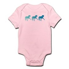 Dressage Horse Sidepass Blue Ombre Infant Bodysuit