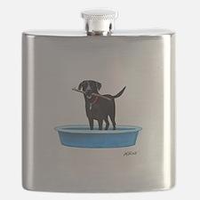 Black Labrador Retriever in kiddie pool Flask