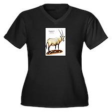 Arabian Oryx Women's Plus Size V-Neck Dark T-Shirt