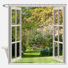 Spring Garden Through A Window Shower Curtain