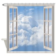 Clouds Through The Window Frame Shower Curtain