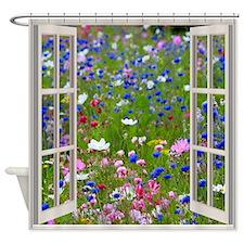 Wildflowers Through Window Shower Curtain