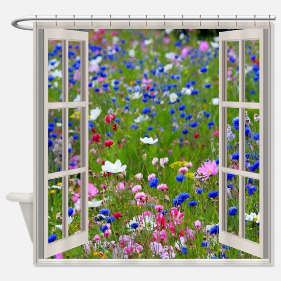 Wildflowers Through Window Shower Curtain