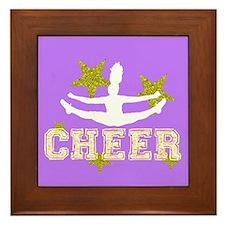 Cheerleader purple and gold Framed Tile