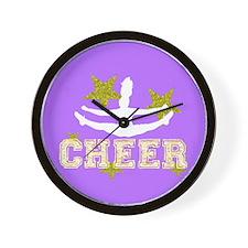 Cheerleader purple and gold Wall Clock