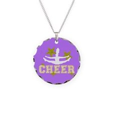 Cheerleader Purple And Gold Necklace Circle Charm