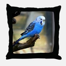 Blue Budgie Throw Pillow