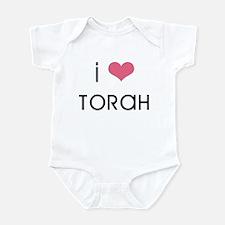 """""""I love Torah"""" (pink heart) Infant Bodysuit"""