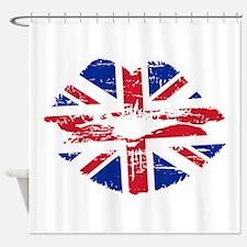 UK Flag Union Jack Lips Shower Curtain