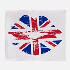 UK Flag Union Jack Lips Throw Blanket
