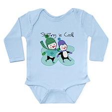 Penguins Skating is Co Long Sleeve Infant Bodysuit