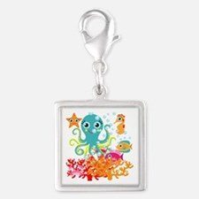 Welcome to the Ocean Silver Square Charm